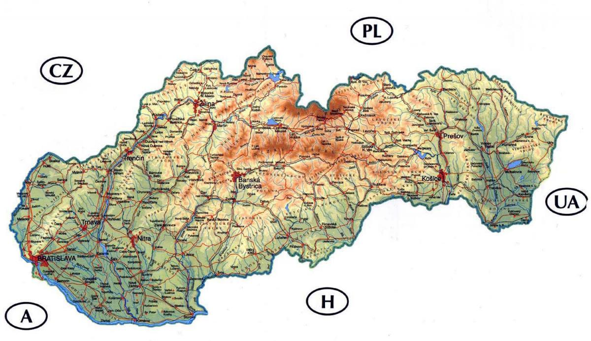 detailed map of Slovakia