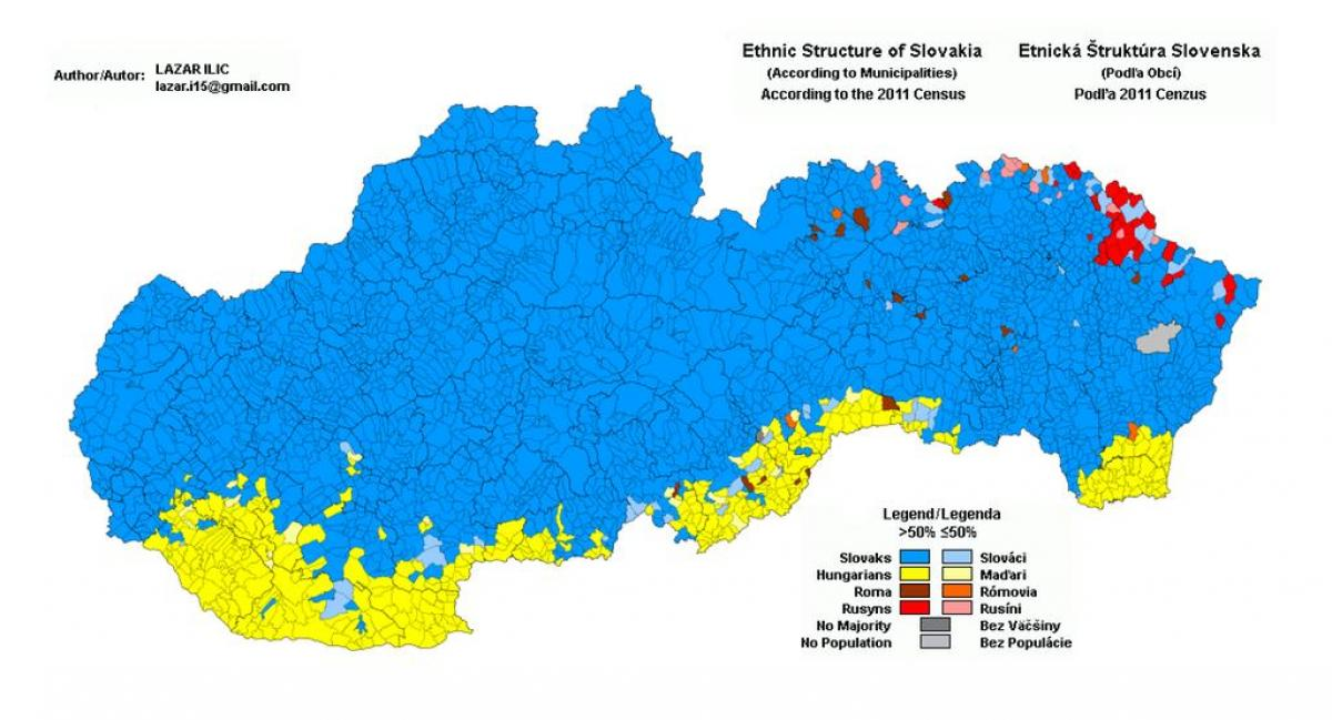 Slovakia ethnic map - Map of Slovakia ethnic (Eastern Europe ...