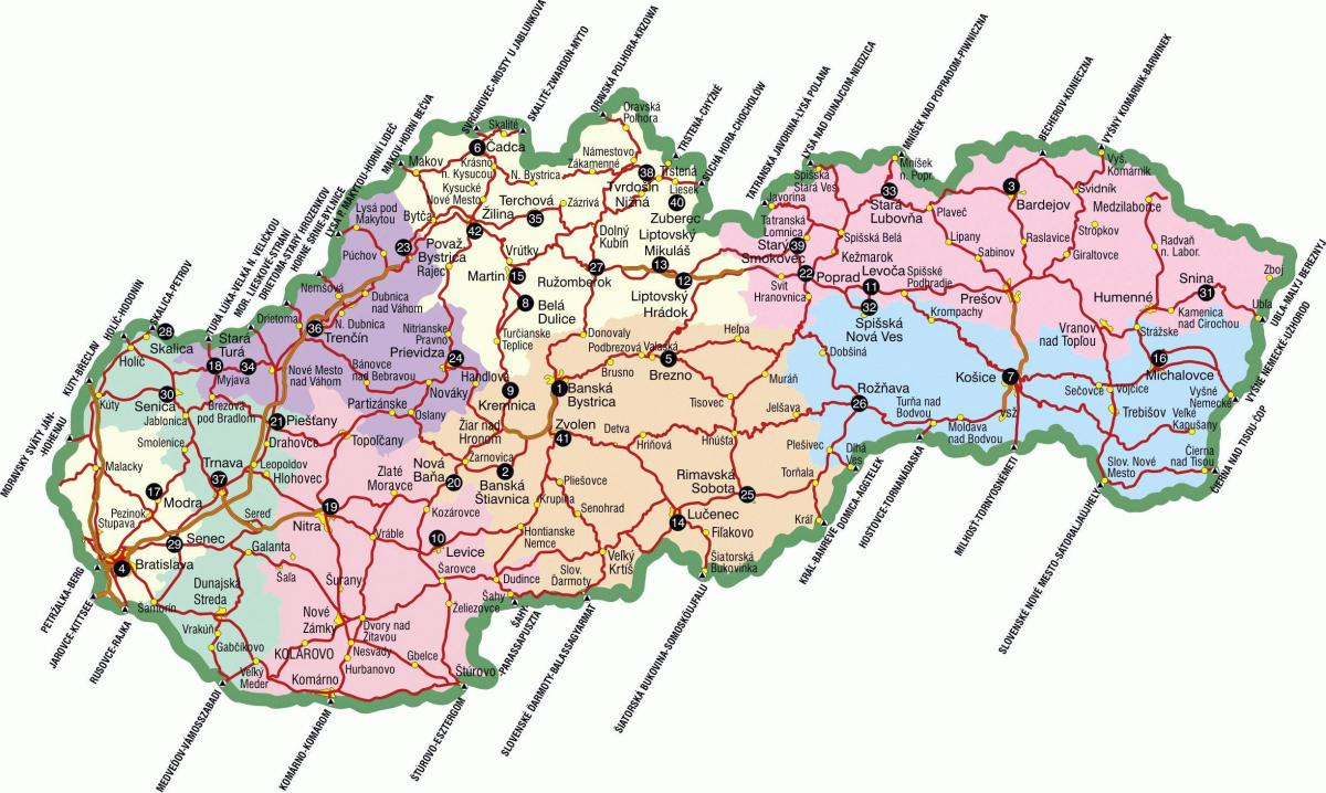 Slovakia tourist attractions map