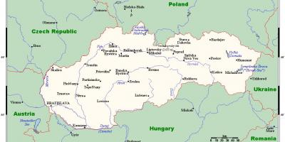 Map of Slovakia with cities